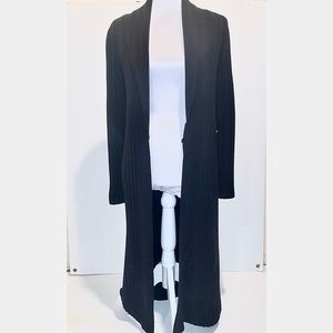 Theory Black ribbed cardigan/duster